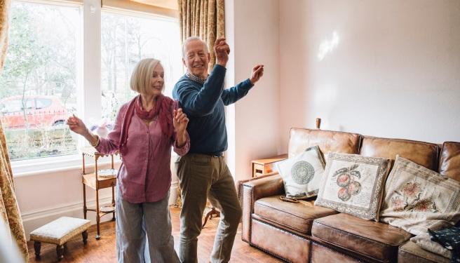 Seniors Dancing At Home