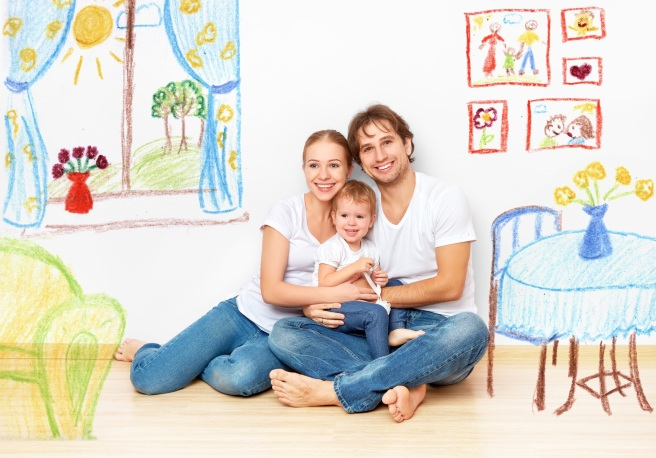 Concept : happy young family in  new apartment dream