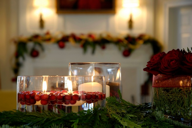 Christmas Candles and Fireplace