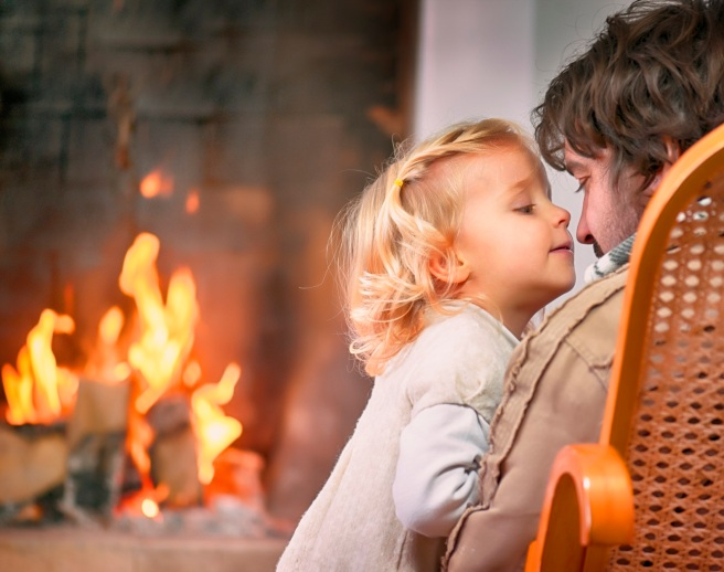Daughter and Father near the Fireplace