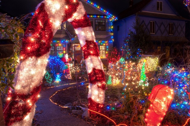 House with Many Colorful Christmas Lights