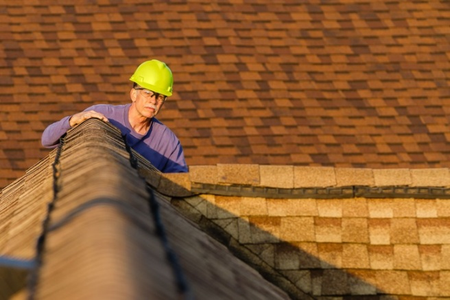 Home inspector examines architectural, asphalt shingled roof.